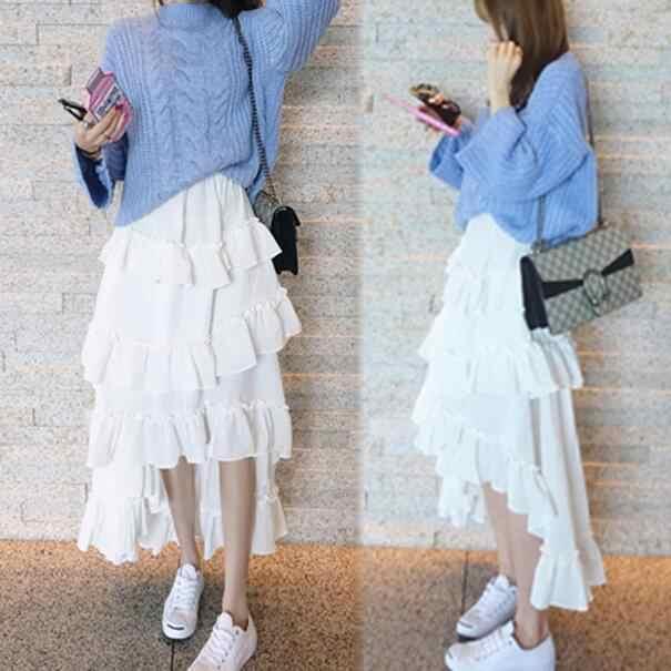 Lolita spódnica czarny biały długi bawełniana pościel spódnica asymetryczna Low-high projekt kobiety ciasto warstwy wzburzyć spódnice saia DC738