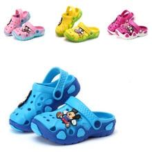 Новое поступление, модное Летнее Детское платье с персонажами из мультфильмов обувь Cave мальчиков и Женские тапочки сандалии для девочек; два способа ношения; Противоскользящие тапочки для пляжа