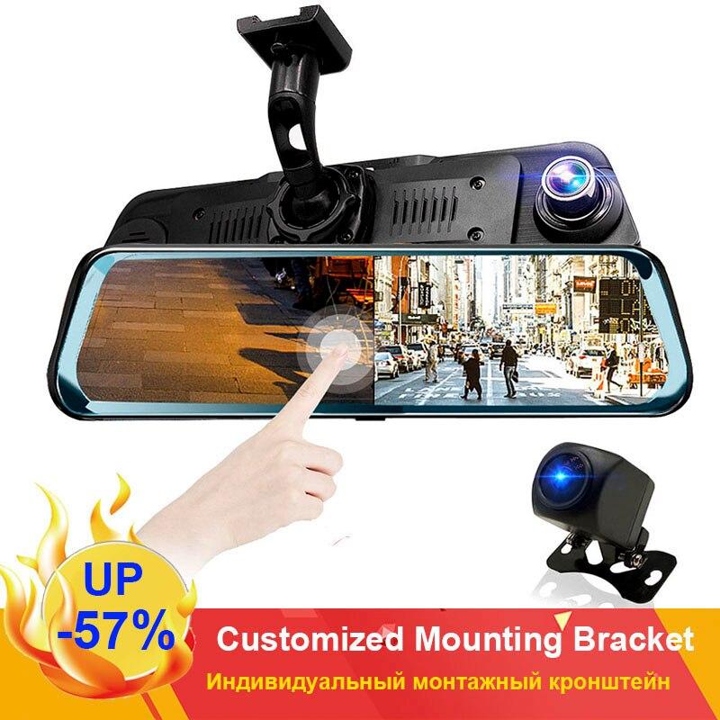 """HGDO 10 """"écran tactile vue arrière caméra miroir tableau de bord caméra FHD 1080P voiture DVR Vision nocturne tableau de bord Cam Auto conduite enregistreur Dashcam"""