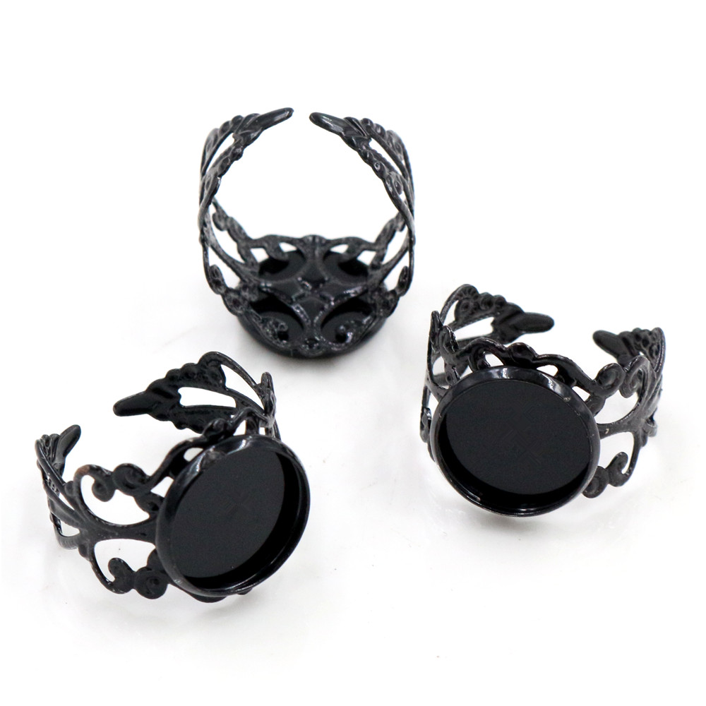 12mm 10pcs Black  Plated Brass Adjustable Ring Settings Blank/Base,Fit 12mm Glass Cabochons,Buttons;Ring Bezels -J3-40