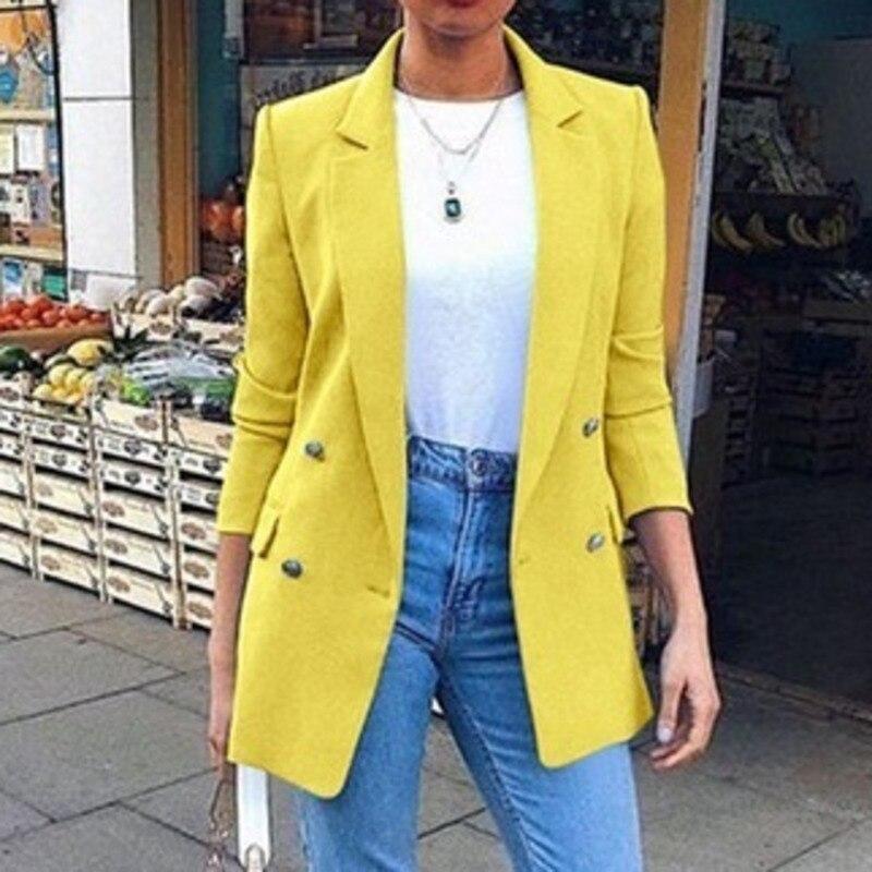 Jacket Solid Office Lady Blazers Notched Single Button Streetwear Khaki Jacket In A Cage Female Women Blazers