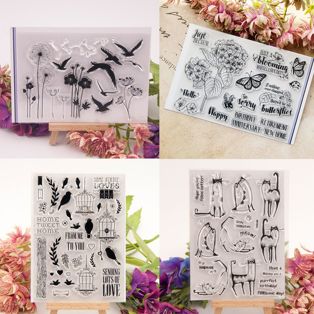 Dolce Vita Clear Stamps Spring Butterfly Bird Cat Transparent Silicone Stamp Seal for DIY Scrapbooking Paper Card Craft Supplies