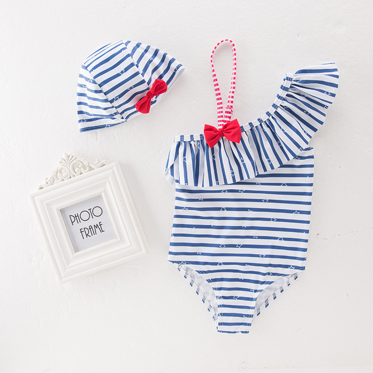 New Style Bow Stripes Lotus Leaf-Trimmed Collar Baby Swimsuit Female Baby GIRL'S One-piece Swimming Suit