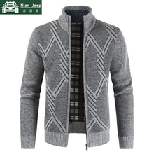 New Spring Autumn Cardigan Sweater Men Cotton Casual Stand Collar Geom
