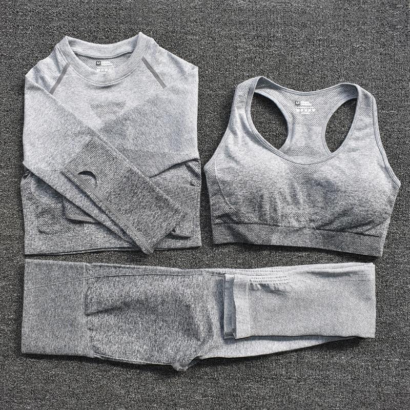 3pcsGray - Women's Sportwear Seamless Fitness Gradient Yoga Set