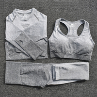 3pcsGray - Women's Sportwear Seamless Fitness Gradient Yoga Set