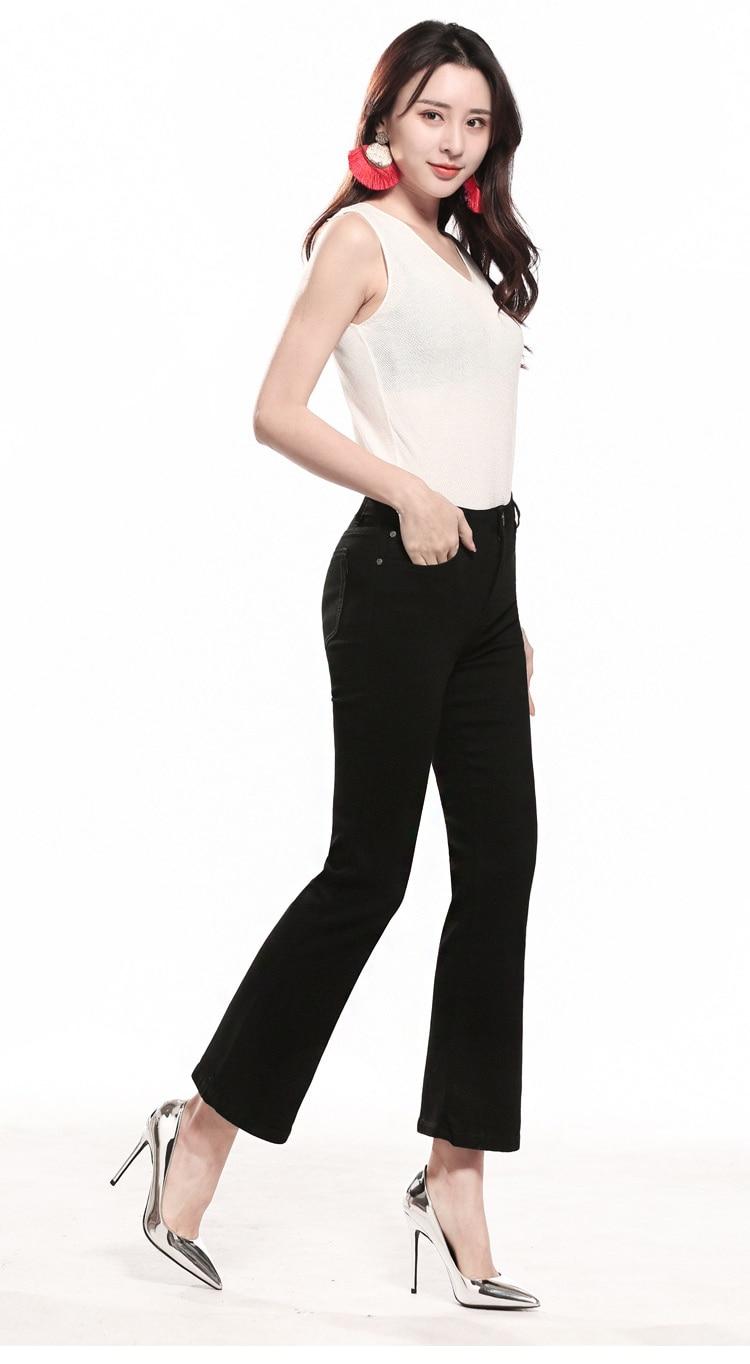 KSTUN FERZIGE  Womens Jeans Solid Black Blue Summer Thin Flare Pants Cropped High Waist Stretch Denim Pants for Yong Girls Fashoin 15
