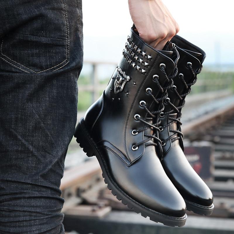 2019 защитные ботинки; Мужская модная обувь Liu Ding; Мужская черная обувь в байкерском стиле; модные мужские ботинки