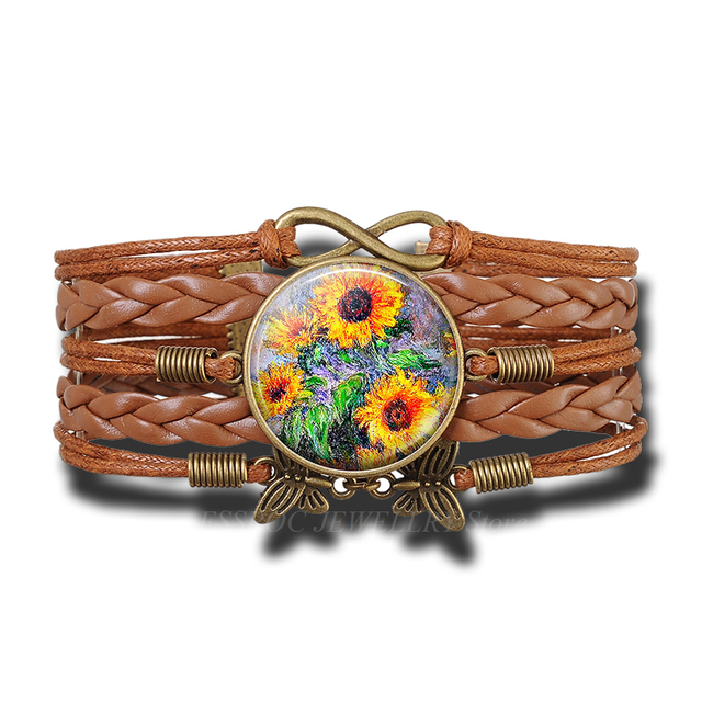 New Fashion Van Gogh Sunflowers Bracelet Handmade Infinity Leather Charm Flower Bracelets for Man Women
