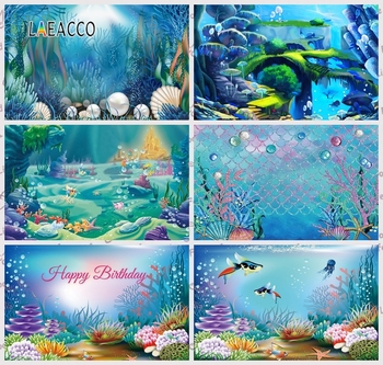 цена на Laeacco Little Mermaid Princess Photophone Seabed Castle Coral Bubble Fish Photography Backdrops Baby Birthday Photo Backgrounds