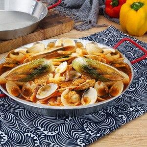 Image 4 - 20 30 Cm Verdikte Rvs Non stick Paella Pan Spaans Zeevruchten Frituren Pot Wok Kaas Fornuis Voedsel fruitschaal Container