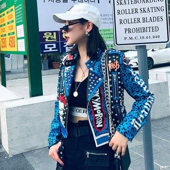 ¡Novedad de primavera! Chaqueta de piel sintética de alta calidad con remaches de leopardo para mujer, chaqueta de cuero gótico para mujer PY95