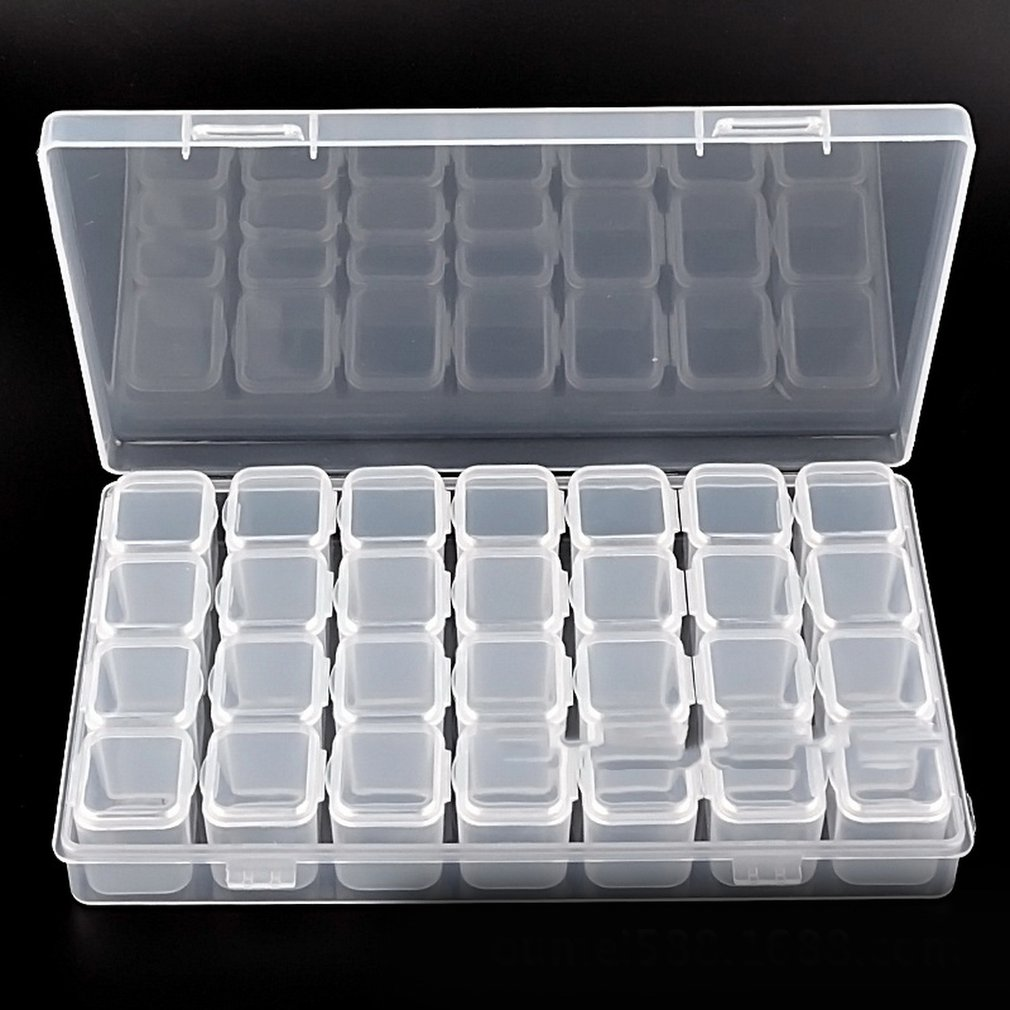 12/28 Grid Compartment Transparent Medicine Box Jewellery Packing Plastic Removable Box Nail Art Tool Storage Case
