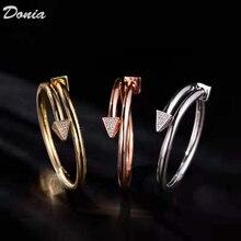 Joyeria donia moda europea y americana nueva pulsera damas oro rosa brazaletes de circonio AAA moda abierta pulsera