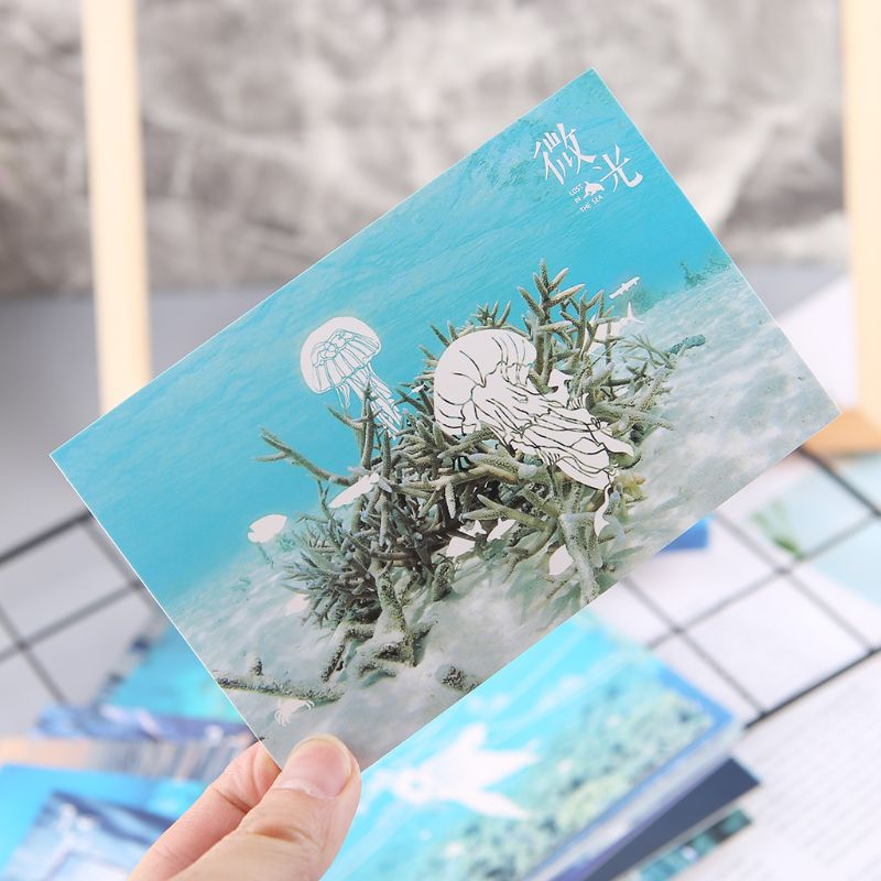 30pcs Vintage Luminous Postcard Glow In The Dark Ocean Greeting Post Card Novelty Xmas Greeting Cards Gift DXAC