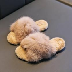 New Autumn Winter Children Slippers With Fur Cross Children's Home Slippers For Girls Boys Thermal Cotton Slippers For Kids