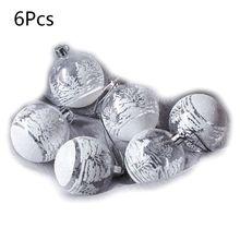 6 шт 8 см Серебряные Снежинки шар Рождественская елка украшения Висячие Подвески Ремесло
