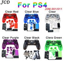 JCD PS4 Controller Custom Clear Full Housing Gamepad Shell Case Buttons Cover Kit Replacement for Sony Playstation 4 V1