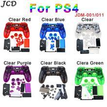 JCD PS4 denetleyici özel şeffaf tam konut Gamepad kabuk durumda düğmeleri kapak kiti değiştirme Sony Playstation 4 V1