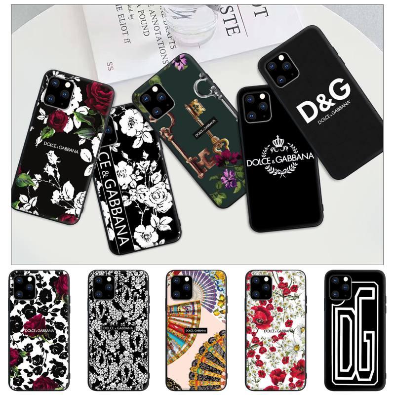 Popolar carta de luxo marca etiqueta dg preto fosco caso capa do telefone para o iphone 12 11 pro max xs x xr 7 8 6s mais 5 5S se 2020