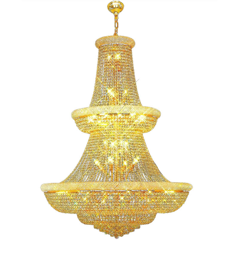 Modern and simple crystal lamp golden double stair lights luxury crystal chandelier living room headlights Chandeliers