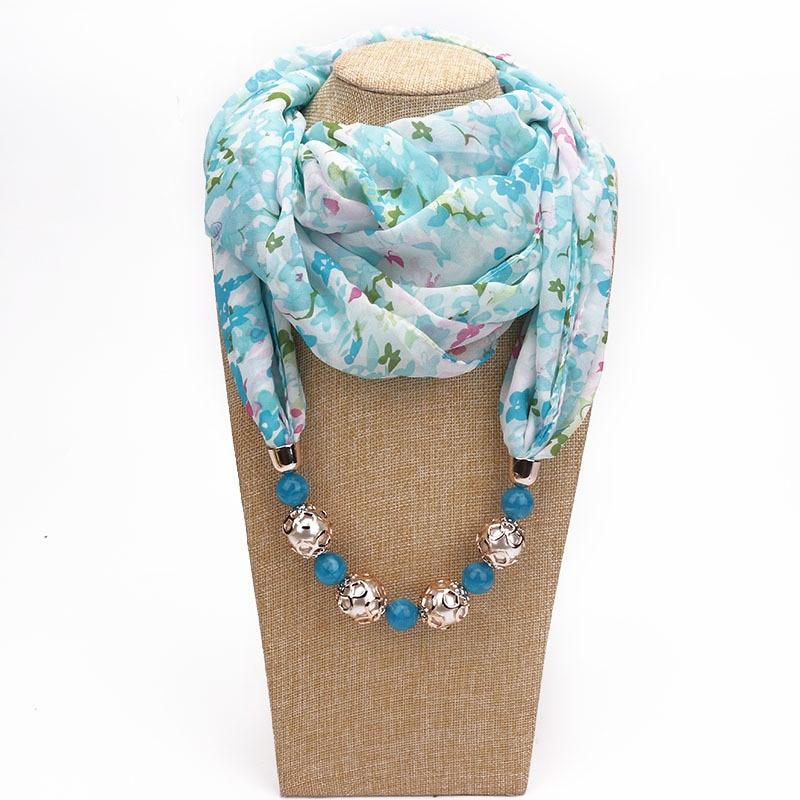 Fashion Beading Pendant Print Chiffon Women Ring Scarf European American Multi-style Necklace Pendant Scarf Head Scarves Hijab