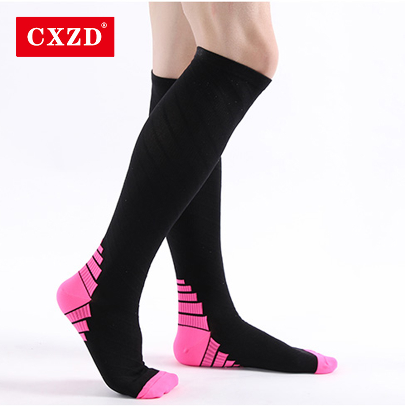CXZD Professional Breathable Sports Socks For Men And Women Marathon Socks Long Run Long Tube Calf Compression Socks