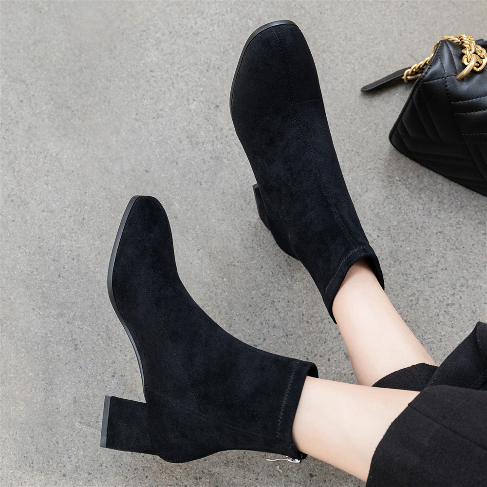 Plus Size 34-43 Slim Stretch Ankle Boots for Women Square Toe Zip Sock Boots Square High Heel Boots Shoes Woman Fashion Feminina