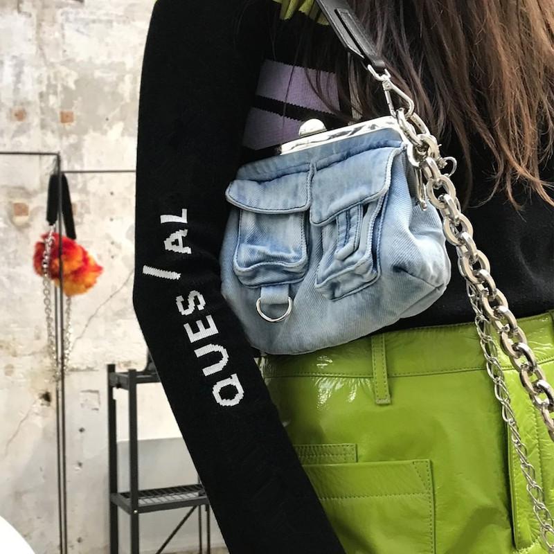 NEW Denim Women Shoulder Casual Tote Bag Wing Capacity Ladies Handbag Blue Soft New European American Simple Chain Brand Clip