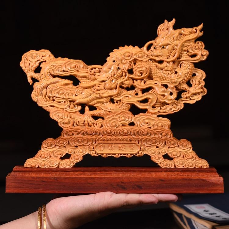 Double Dragon avec boule en bois ajourée, 20CM, Double face, décoration de maison ajourée, ameublement de Collection