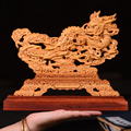 20CM Double Dragon With Ball Wood Double Sided Carved Hollow Home decor Furnishing Collection Decorations