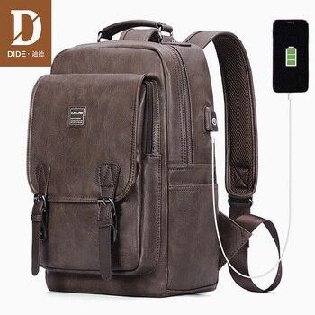 DIDE New USB Charging Backpack Vintage PU Leather laptop backpack men Mochila Brand Travel School bag waterproof