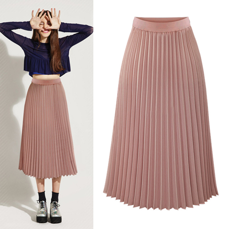 High Waist Pleated Skirts Womens 2020 Plus Size Spring Atumn Elegant Chiffon Skirt Femme Black White  Ladies Midi Skirt Saia