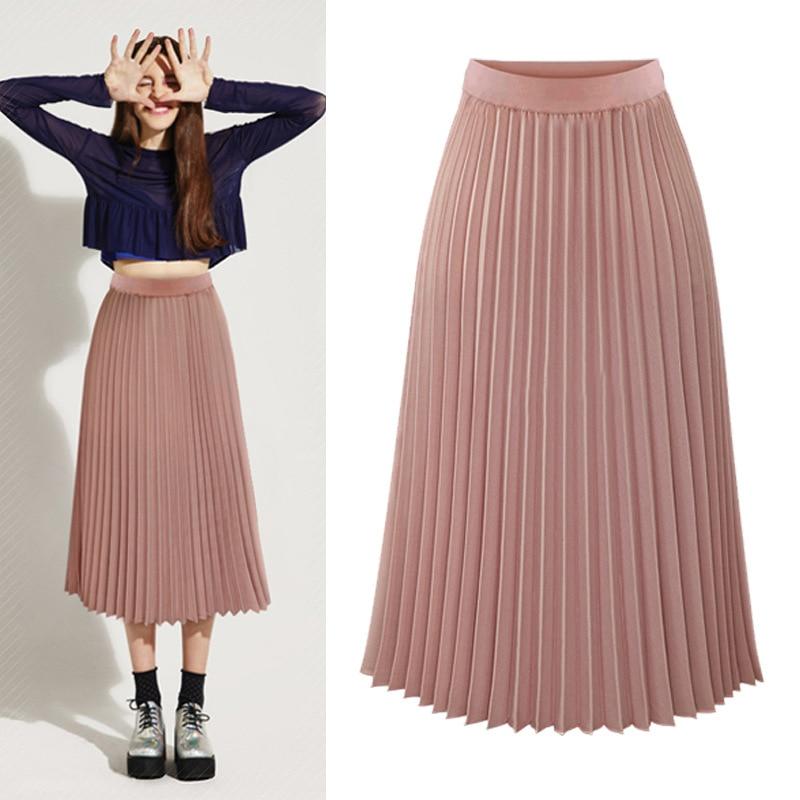 High Waist Pleated Skirts Womens 2020 Plus Size Spring Atumn Elegant Chiffon Skirt Femme Black White  Ladies Midi Skirt Saia