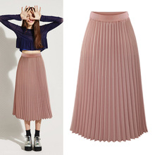High Waist Pleated skirts womens 2019 Plus Size Spring Atumn Elegant Chiffon