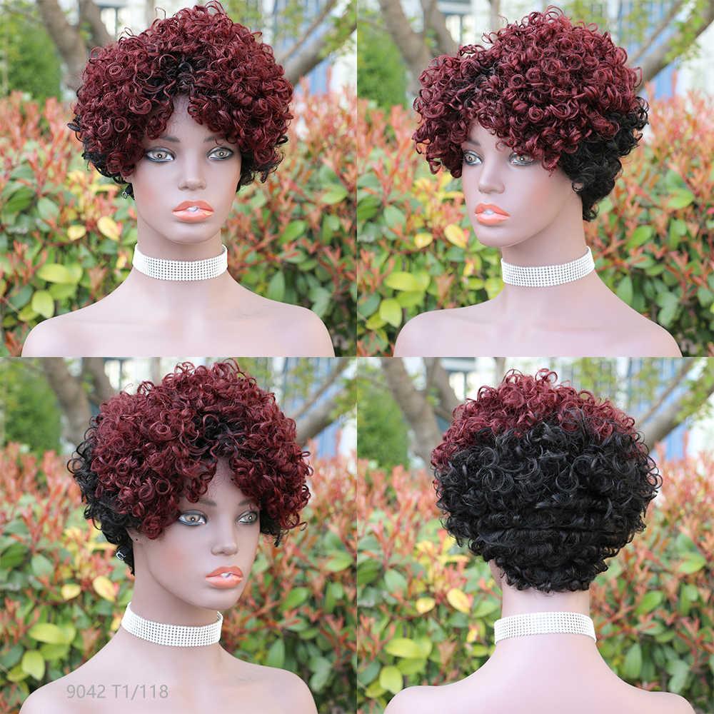 Pelucas de cabello humano cortas para mujeres negras Afro espiral rizado Remy Ombre Peluca de pelo humano hecha a máquina brasileña 4 # Peluca de color rojo