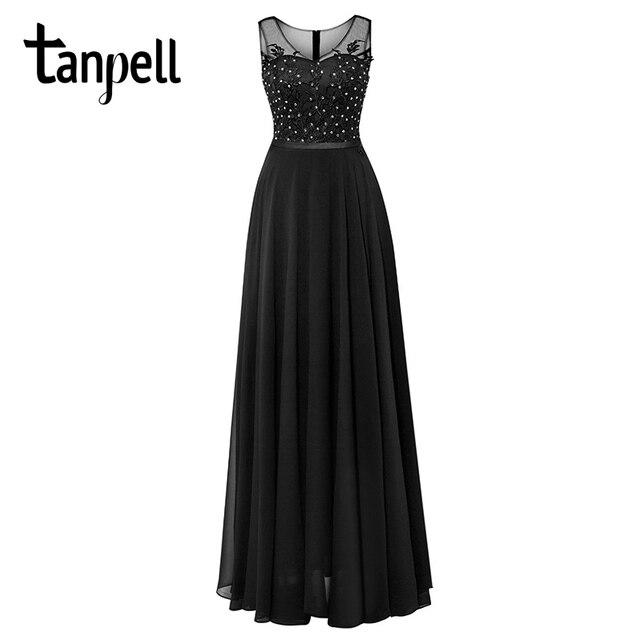 Tanpell uzun scoop akşam elbise siyah kolsuz aplikler boncuklu bir çizgi kat uzunluk elbise ucuz kadın parti balo gece elbisesi