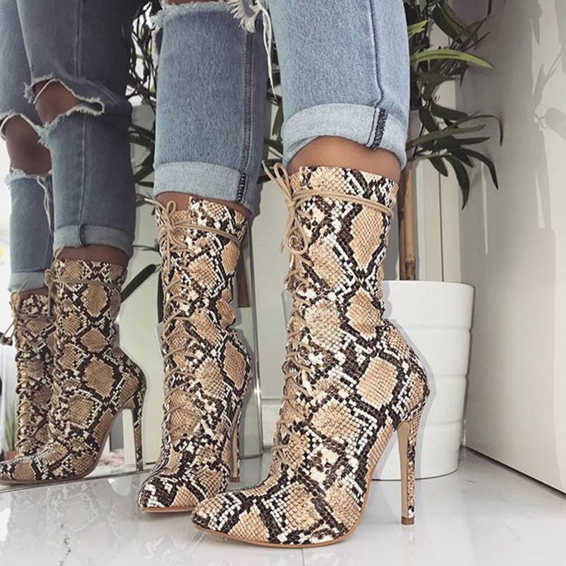 2020 Women 11.5cm High Heels Fetish Leather Stripper Boots Serpentine Cross Lace Up Ankle Boots Quality Prom Snake Print Shoes