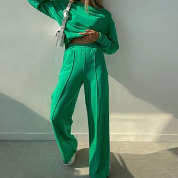 Jesienno-zimowy damski garnitur jednolity kolor długi rękaw bluza z kapturem z dekoltem w kształcie litery o garnitur Casual Streetwear modny dwuczęściowy zestaw luźne spodnie kieszenie tanie i dobre opinie Chin Sweety Stałe CN (pochodzenie) Na wiosnę jesień Z KIESZENIAMI Pełna długość POLIESTER z włókien syntetycznych