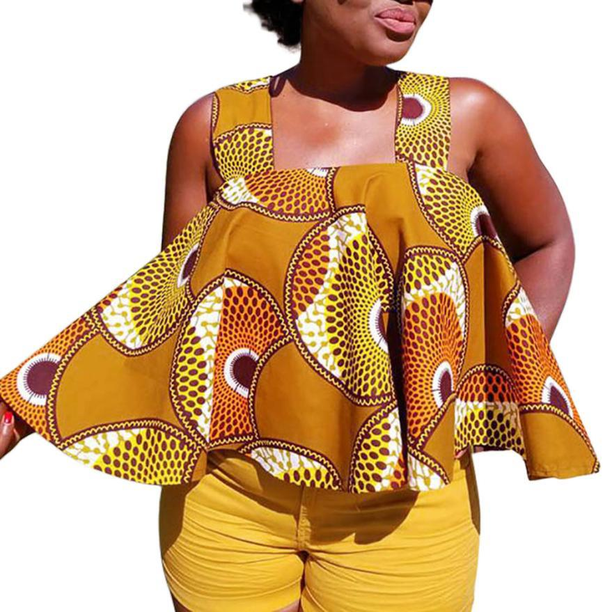 2019 New Summer Sexy Fashion Style African Women Printing Plus Size T-shirt S-XXL
