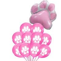 Globos rosas let Pawty, suministros de fiesta, perro, gatos, patas de Mascota, impresiones, adornos para fiesta de cumpleaños
