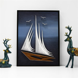 Crafts for Adults DIY Sailing String Painting Handmade Material Package for Wall Painting Living Room Boyfriend Gift Ideas Bored