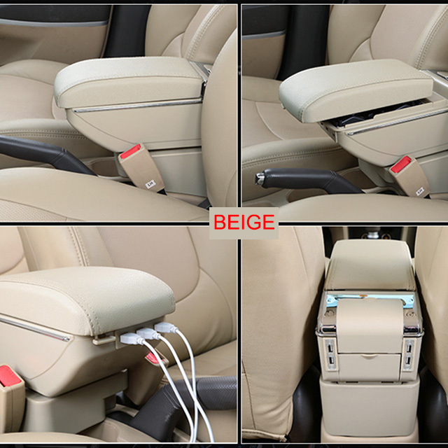 Armrest Box for Toyota Yaris L Vios FS 2014-2018 USB Charging LED Light Arm Rest Rotatable Centre Console Storage Box