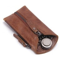 Men's Genuine Leather Key Case Wallet Vintage Keychain Covers Zipper Bag Housekeeper Keys Organizer with Car Key Holder
