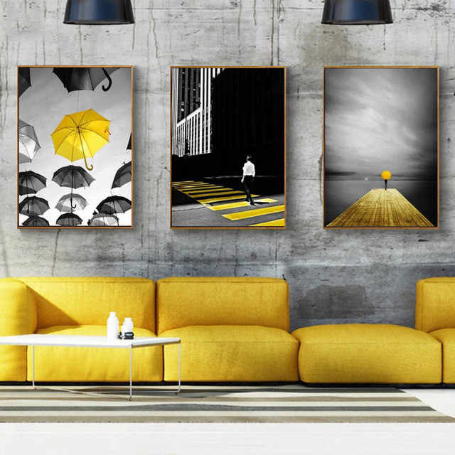 Nordic Fashion Black And Yellow Poster Bridge Umbrella Walkway Landscape Painting Children's Room Decorative Prints Canvas Wall