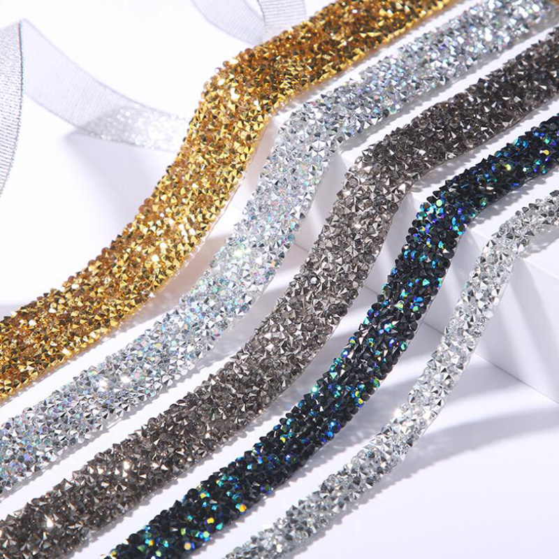 1 Yard Sewing Trim Crystal Motif Hot Fix Shining Resin Rhinestone Ribbon Appliques For Dresses Clothes Shoes