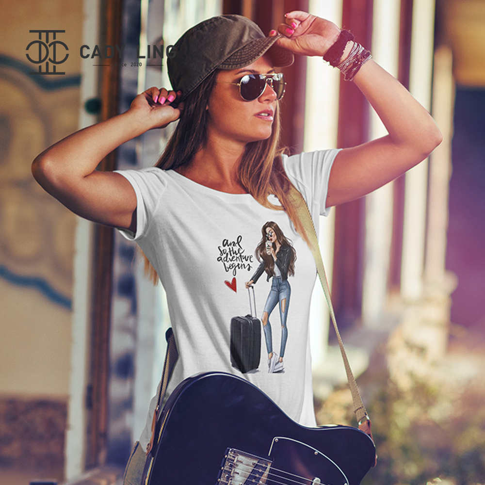 Hot New Street Style Trend Ladies Casual Short-sleeved O-neck Cotton T-shirt Suitcase Girl Print Graphic Tee Female