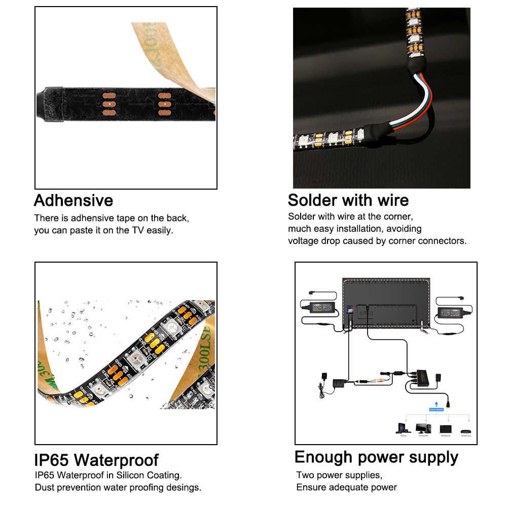 Nowy DIY Ambilight dla urządzenia HDMI łatwe podświetlenie TV oświetlenie ws2812b TV dynamiczna taśma Led światło 4K HDTV TV monitor 40-80 calowy telewizor