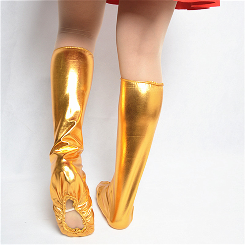 Sailor Dance Red Shoe Cover For Trainning Kindergarten Stage Performance Gold Silver Foot Cover Adult Children's Socks