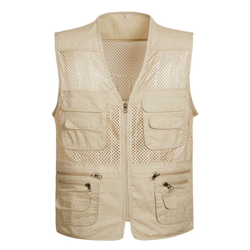 Plus Size S-4XL Mesh Quick-Drying Vests Male With Many Pockets Mens Breathable Multi-pocket Fishing Vest Work Sleeveless Jacket